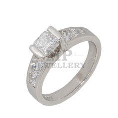 18K White Gold Diamond Engagement Ring Handmade