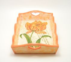 Wooden decoupage tray wooden tray decoupage tray shaby chic