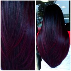 Deep, Wine-Colored Balayage - All For Hair Color Trending Hair Color Balayage, Hair Highlights, Ombre Hair, Burgundy Hair Ombre, Burgundy Balayage, Plum Hair Colors, Red Velvet Hair Color, Maroon Hair, Peekaboo Highlights
