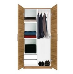 Alta Wardrobe Closet - Half and Half - Alta Wardrobe Collection by Contempo Space. $569.00. Perhaps the most versatile wardrobe closet in the universe, this wardrobe from the Alta Collection is half hanging storage, half drawers and half shelves. If it sounds like a lot of halves, that's because it is. This closet has storage enough for everything. This contemporary design freestanding closet solution will let you store and organize with ease. Offers a large storage se...