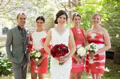 love the interesting fabrics used for brides maids`dresses  Farm Wedding with Charming Red Details: Marcy + Dan