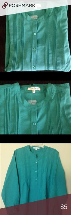 "NWOT Emerald Dress Shirt Sz XL/1X NEW WITHOUT TAGS, Emerald Green half Button Down Dress Shirt. Size XL (Runs Big)Cool Comfy Polyester Material. Long sleeve with Button Cuff to adjust sleeve height as desired. Great for Summer nights or upcoming Fall  Measures 23 in"" across waist laying flat Travel Smith Tops Blouses"