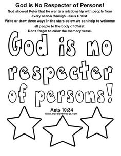 God Is No Respecter Of Persons Draw The Scene Bible Activity Sheet For Acts