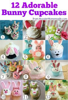 12 Adorable Bunny Cupcakes | Thanks to @Hoosier Homemade