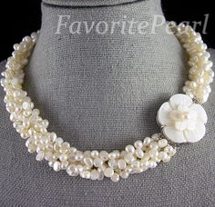 Pearl Necklace - Five Rows 5.0-6.0mmX6.0-7.0mm White Color Freshwater Pearl Necklace Shell Flower Clasp - Free Shipping