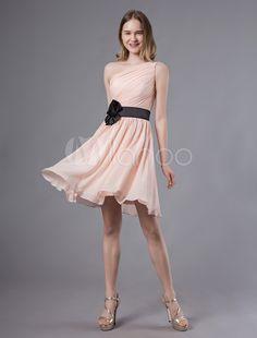 e8f470d3adb6 Pink Bridesmaid Dress Lace One Shoulder Short Prom Dress Sleeveless A Line  Ribbon Bow Sash Knee Length Party Dress in 2019 | Bridesmaid Dresses |  Bridesmaid ...