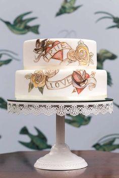 Tattoo themed unusual wedding cake