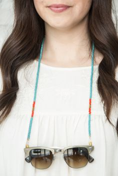 croakies beaded sunglass chain teal with by bijouxbeautique, $24.00