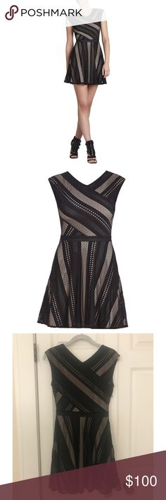 """BCBG Jasmyne Sleeveless A-Line Lace Dress Like new! Only worn once briefly. * Measures approximately 28.5"""" from neck to hem. * Hits above the knee. * Bodycon-fit through natural waist. * Slight stretch. * Fits true to size. * V-neckline. * Sleeveless. * Banded waistline. * A-line skirt. * V-back. * Allover striped lace knit. * Concealed side seam zipper closure. * Self: Polyester, Spandex lace. * Contrast: Polyester, Spandex tulle. * Lining: Polyester, Spandex jersey. BCBG Dresses"""