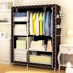 3d Pattern Wardrobe Non-woven Folding Cloth Wardrobe Reinforcement Combination Small Closet Assembly Clothes Storage Cabinet Terrific Value Furniture