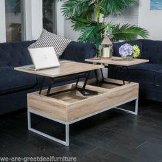 $180 - Rustic-Modern-Natural-Brown-Wood-Lift-Top-Storage-Coffee-Table
