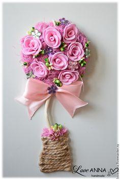 Топиарии ручной работы. Ярмарка Мастеров - ручная работа. Купить Топиарий-магнит с розами. Handmade. Сиреневый, топиарий дерево счастья