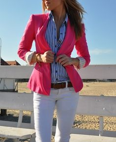 pink blazer, blue & white striped button down top, white pants, brown belt