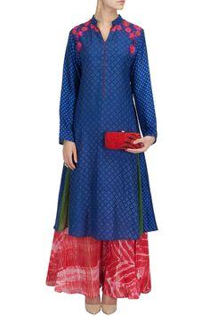 KRISHNA MEHTA Indigo printed and embroidered tunic with shibori palazzo