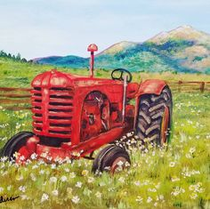 Free Acrylic Tutorial Rustic Tractor Painting by Angela Anderson on YouTube #tractor #farm #rusticdecor #acryliconcanvas #paint #art