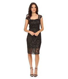 Adrianna Papell Metallic Lace Sheath Dress with Cap Sleeve