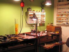 Wow-Great set up and so organized! My work space is much more chaotic-this has great flow to it. :: My jewelry studio :: by maldonadojoyas, via Flickr