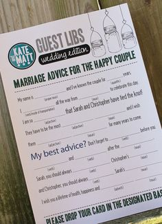 Wedding Mad Libs Mason Jars Set of 100 Printed Totally Customizable. $149.00, via Etsy.