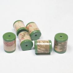 Antique Looking Barrels Beads -  Paper and Polymer Clay by BarbiesBest on Etsy