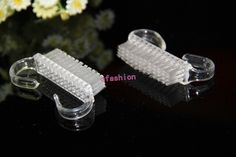 2pcs/lot Clear Plastic Nail Art Dust Cleaning Brush Manicure Pedicure Tools Freeshipping or Fast shipping by HK post