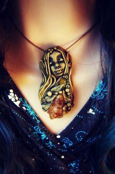 Pixie Necklace with Spessartine Garnet by TRaewyn