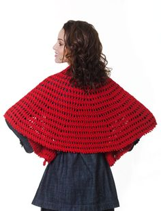"Yarnspirations - Caron Nadia Shawl - free crochet pattern by Darla J. Fanton. 905m dk weight yarn, 6.5mm hook. Half circle shaped. 48.5"" wide x 25"" centre height."