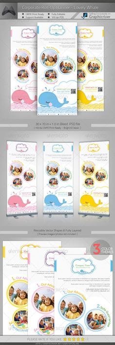 Buy Corporate Roll-up Banner - Lovely Whale by katzeline on GraphicRiver. [ Corporate Roll-up Banner – Lovely Whale] + bleed PSD files. CMYK Print Ready Easy to cust. Elegant Business Cards, Cool Business Cards, Corporate Business, Rollup Banner Design, Standing Banner Design, Banner Design Inspiration, Roll Up Design, Baby Banners, Letterhead Template