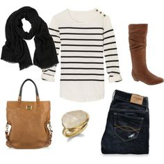 Simple, stripes, scarf, boots.