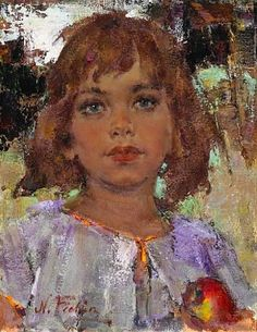 Nicolai Fechin - Portrait of a young girl with an apple