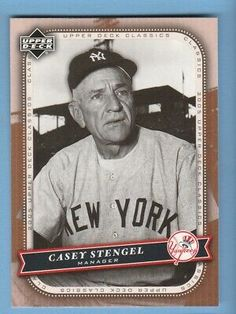 In Mint Condition New York Yankees Baseball, Ny Yankees, Casey Stengel, Mickey Mantle, Dale Earnhardt Jr, Nascar Racing, Upper Deck, Education Quotes, New England Patriots