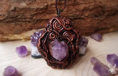 Celtic Amethyst Amulet Polymer Clay Crystal by ClaneralAmulet