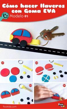 Cómo hacer llaveros de goma eva. Manualidades para niños. Manualidades fáciles. regalos Día del padre. Ideas con goma eva.