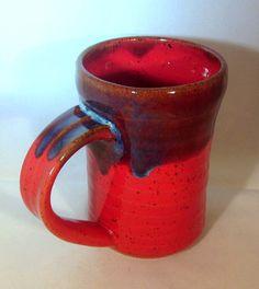 Large Red Ceramic Mug, Handmade Red and Blue Coffee Mug Pottery  $16.00