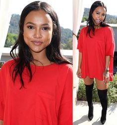 Karrueche Tran in red shirt dress