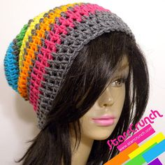 Slouchy Beanie Crochet Hat in Rainbow and Gray by StarrCrunch