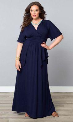 Purple V Neck 3 4 Sleeve Plus Size Skater Maxi Dress
