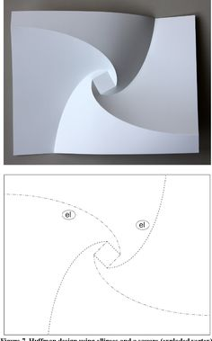 """Figure Huffman design using circles. - """"Reconstructing David Huffman's Legacy in Curved-Crease Folding"""" Origami And Kirigami, Origami Paper Art, Paper Crafts, Origami Wall Art, Paper Folding Designs, Diagrammes Origami, Pop Up, Paper Architecture, Paperclay"""