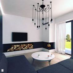Kominek w salonie - zdjęcie od Modern House Studio Architektury - Salon - Styl Minimalistyczny - Modern House Studio Architektury