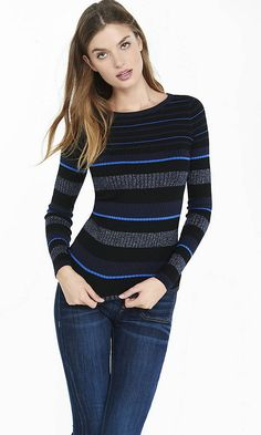 Mixed Stripe Fitted Crew Neck Sweater   Express