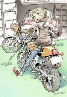 Reminds me of Pokèmon - Drawing - Motorrad Anime Motorcycle, Character Art, Character Design, Bike Illustration, Science Fiction, Car Drawings, Cycling Art, Bike Art, Anime Comics