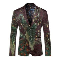 Men Peacock Printed Men Blazers Casual Suit Jacket Slim Fit Blazer Men Stage Wear Coat