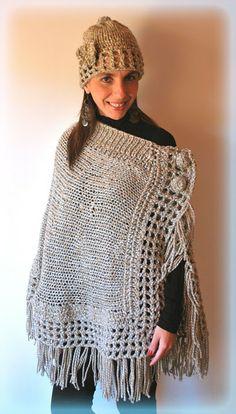 Crochet Cardigan Pattern, Knitted Poncho, Knitted Shawls, Crochet Capas, Crochet Summer Dresses, Hippie Crochet, Crochet Clothes, Baby Knitting, Knitting Tutorials