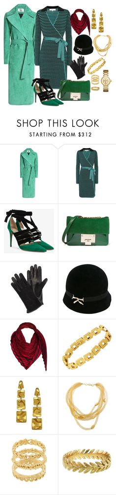 """Green with Holly"" by theranna ❤ liked on Polyvore featuring Diane Von Furstenberg, Valentino, Jimmy Choo, Lanvin, Loewe, Pomellato, Alex Soldier, Wouters & Hendrix, Cathy Waterman and Tory Burch"