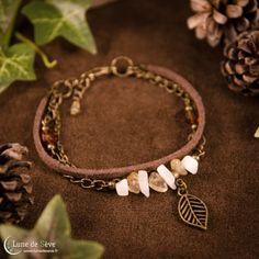 """Bracelet multirangs labradorite blanche, quartz rutile - """"Errances d'Été"""""""