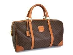 Auth Celine Macadam Pattern Boston Bag PVC/Leather Brown (BF057457)