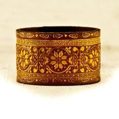 Fall Fashion Leather Cuff Wristband - $35 - http://www.rainwheel.etsy.com - #handmade #vintage