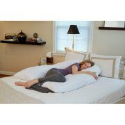 "Buy Hermell Total U-Shaped Body Pillow with White Cover, Offers Relief for Neck and Back Pain, Supportive Pillow, Ideal During Pregnancy, Cover is Removable and Machine Washable, 51"" x 43"" x 6""- BP7300MO at Walmart.com"