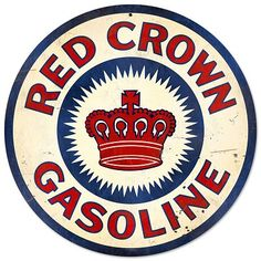 Red Crown Gasoline Round Tin Sign Nostalgic Metal Sign Retro Home Wall Decor Garage Art, Garage Signs, Vintage Metal Signs, Vintage Walls, Pompe A Essence, Standard Oil, Old Gas Stations, Metal Tree Wall Art, Old Signs