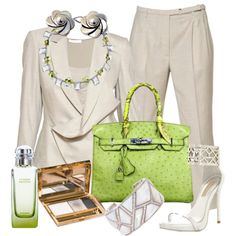 Lime Green Purse-Work to Night Outfit Just Change Accessories :)