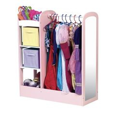 The Guidecraft See and Store Dress up Center features 3 storage units on one side for pretend-play items; dowel for hanging clothes and costumes; and acrylic mirror for dramatic play. The Guidecraft See and Store Dressup Center comes in Natural or Pastel. Dress Up Clothes Storage, Dress Up Closet, Doll Clothes, Do It Yourself Organization, Toy Organization, Dress Up Stations, Preschool Furniture, Armoire Dresser, Kids Dress Up